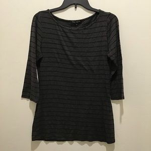 Green Envelope gray and black striped top, large